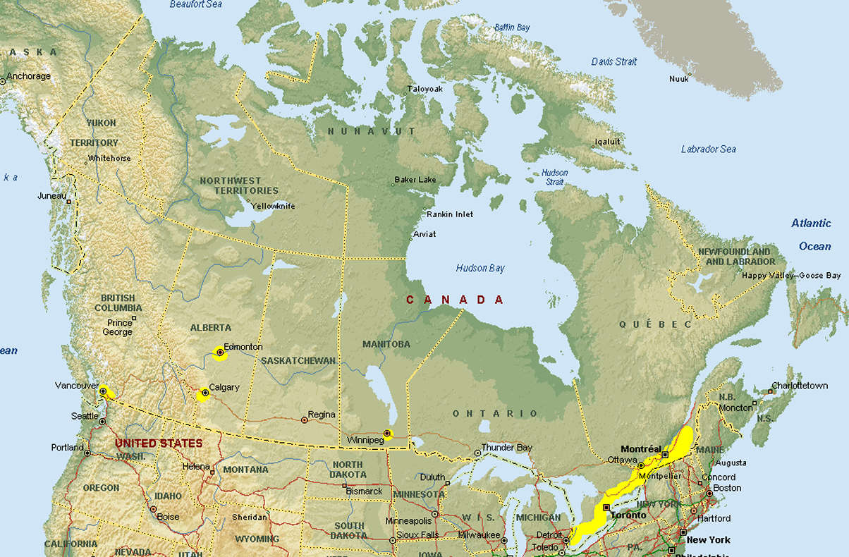Map Of Us Canada Border Google Images Signs And Info North Qgis Google Maps Canada